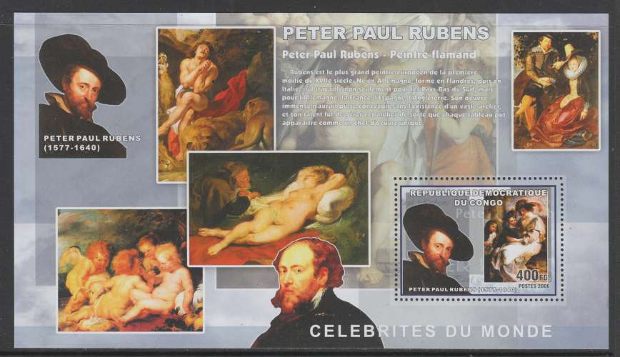 2 BLOCS NEUFS DE REP. DEM. DU CONGO - PETER PAUL RUBENS N° COB 440/441