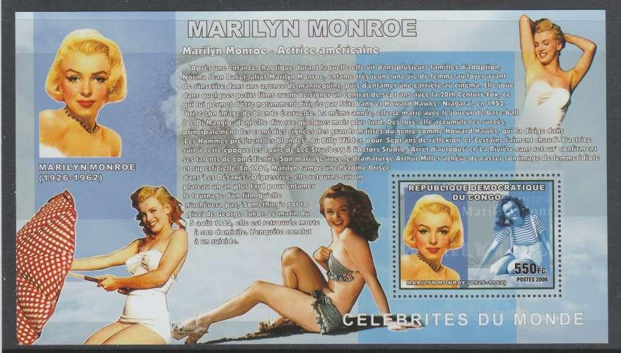 4 BLOCS NEUFS DE REP. DEM. DU CONGO - MARILYN MONROE N° COB 420 A 423