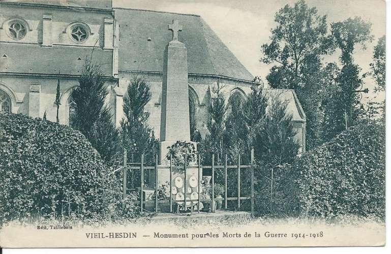 CPA - 62 - Vieil-Hesdin - Monument pour les Morts de la Guerre 1914-1918 - 1930 - Dos scanné