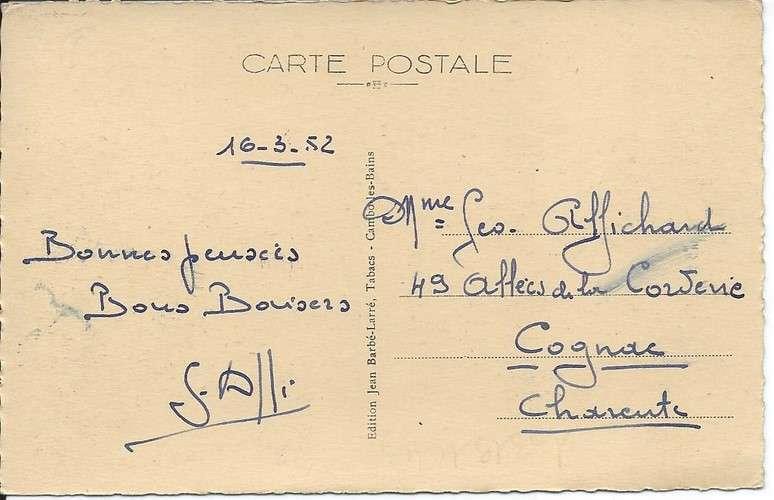 CPA - 64 - Cambo-les-Bains - Eglise - Dagin flamme Cambo - YT 810 - 1952 - Dos scanné