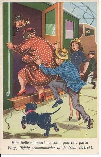 Humour - Couple - Obésité - Vite belle-maman le train pourrait partir - Dos scanné