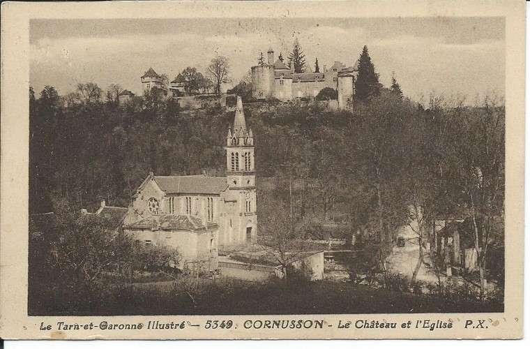 CPA - 82 - Cornusson - Château et Eglise - Timbre taxe Duval 30 c - Année 1932 - Dos scanné