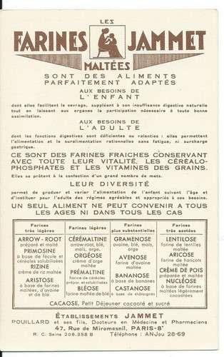 Chromo - L'Artois - Provinces de France - Farines Jammet - Dos scanné