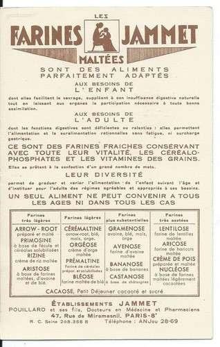 Chromo - La Bourgogne - Provinces de France - Farines Jammet - Dos scanné