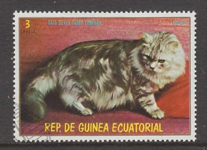 TIMBRE OBLITERE DE GUINEE EQUATORIALE -  CHAT A POILS LONGS SILVER TABBY