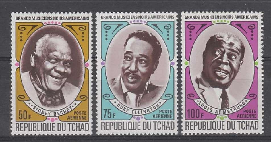 SERIE NEUVE DU TCHAD - GRANDS MUSICIENS NOIRS AMERICAINS N° Y&T PA 93 A 95