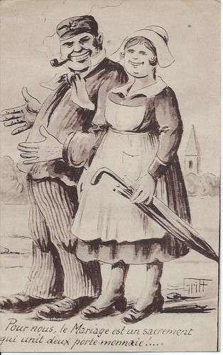 CPA - Illustrateur Griff - Mariage sacrement qui unit deux porte monnaie - Dos scanné