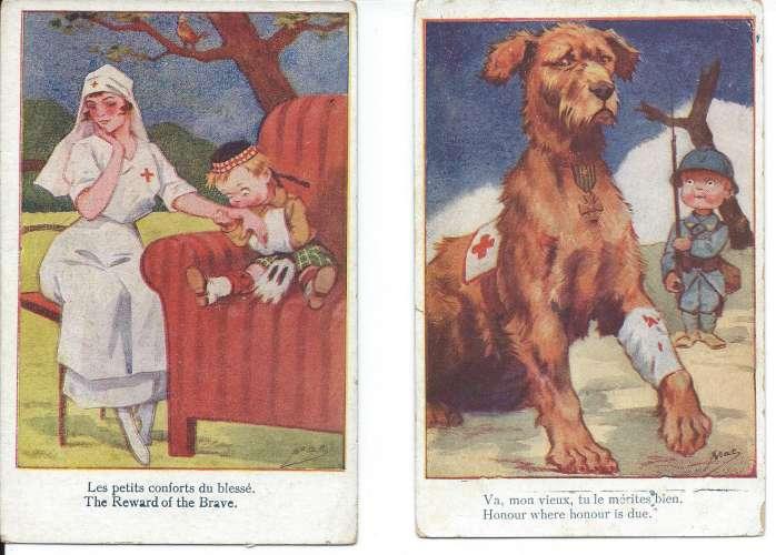 Croix Rouge - Chien - Illustrateur Mac - Lot de 2 cartes