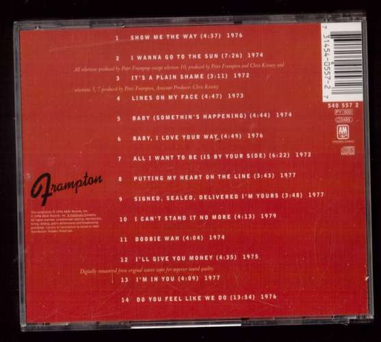 1998 CD  Europe Peter Frampton Greatest Hits A&M Records, Inc  540 557 2