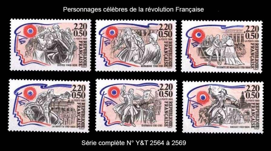 France - Y&T 2564 à 2569 ** Personnages célèbres - année 1989