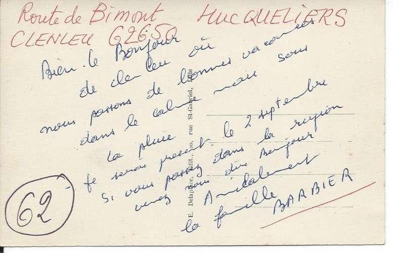 CPA - 62 - Hucqueliers - Coin de la place - Dos scanné