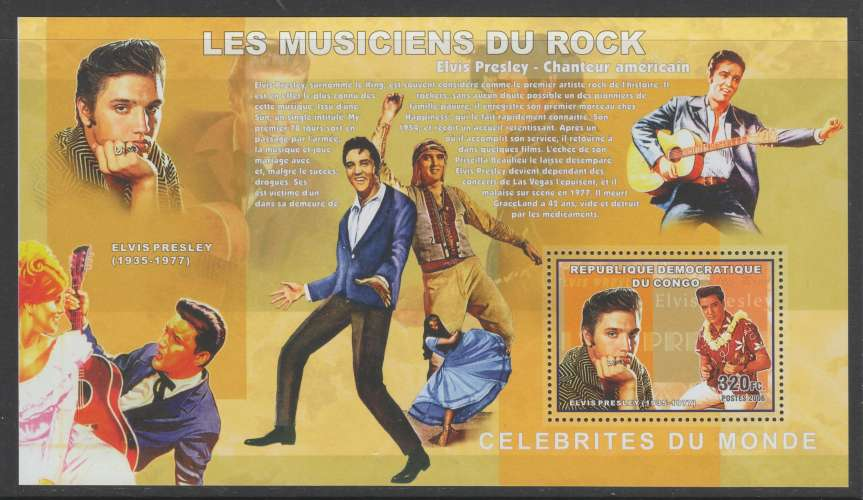BLOC NEUF DE REP. DEM. DU CONGO - MUSICIENS DE ROCK : ELVIS PRESLEY N° COB 431