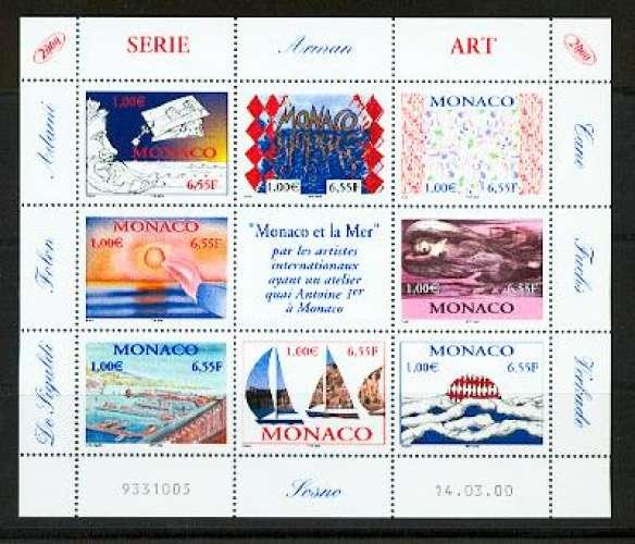 Monaco 2240 2247 2000 la mer feuillet neufs TB** MNH SIN CHARNELA  faciale 8