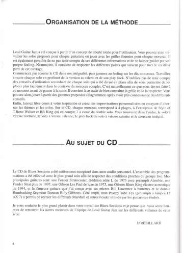 RARE Lead Guitar Jam volume 1 Blues Sessions livret + CD éditions J J Rébillard mars 1999
