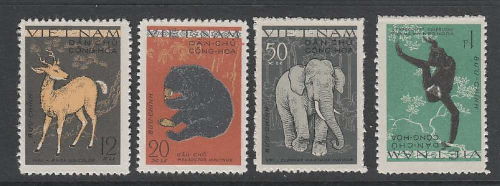 SERIE NEUVE DU VIET NAM DU NORD - CERF , OURS , ELEPHANT ET GIBBON N° Y&T 216 A 219