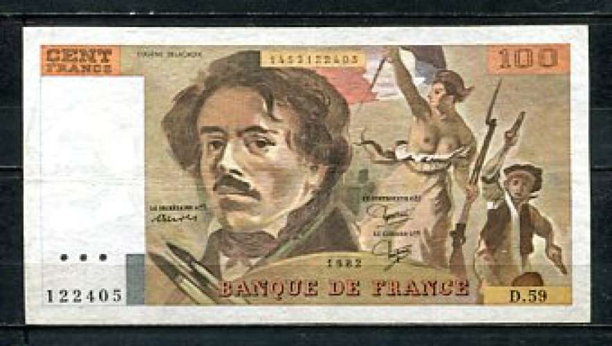 BILLET FRANCE 100 FRANCS DELACROIX 1982 ETAT TTB