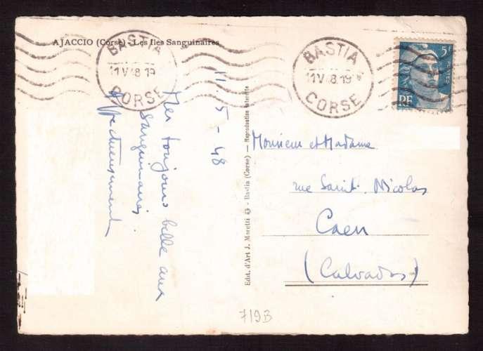 France 1947 Y&T 719B  (o) Marianne de Gandon 5 F seul  sur Cpsm Bastia