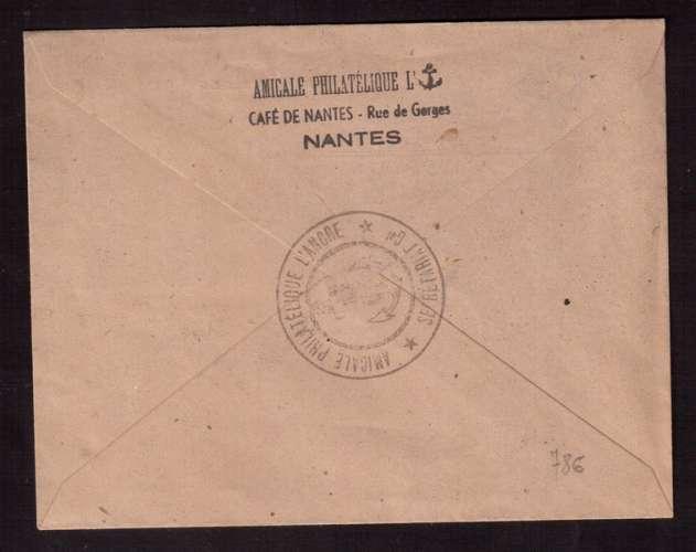 France 1947 Y&T 786  (o) Saint-Nazaire 6 F + 4 F seul sur lettre Amicale des Marins et Marins...