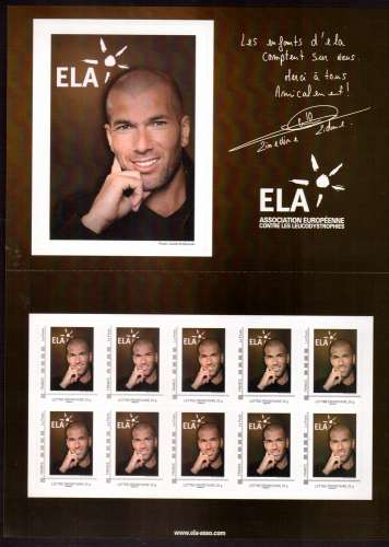 France 2010 collector ELA - Zidane Association européenne contre les leucodystrophies 10 timbres