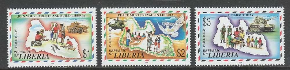 SERIE NEUVE DU LIBERIA - CAMPAGNE POUR LE DESARMEMENT ET LA PAIX AU LIBERIA N° Y&T 1431 A 1433