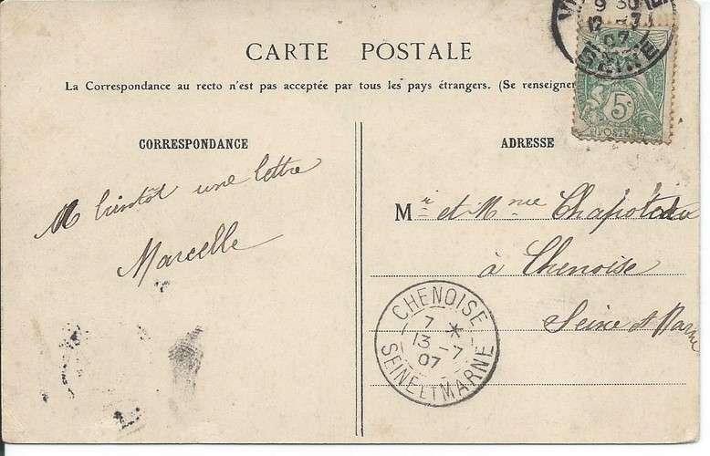 CPA - 94 - Vincennes - Avenue Marigny et Statue de Daumesnil - Année 1907 - Dos scanné