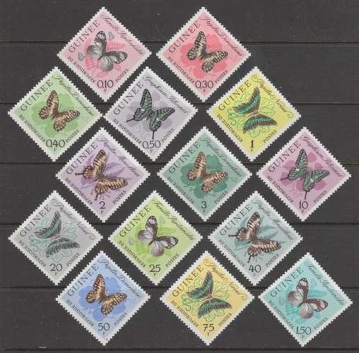 SERIE NEUVE DE GUINEE - PAPILLONS DIVERS N° Y&T 146 A 159