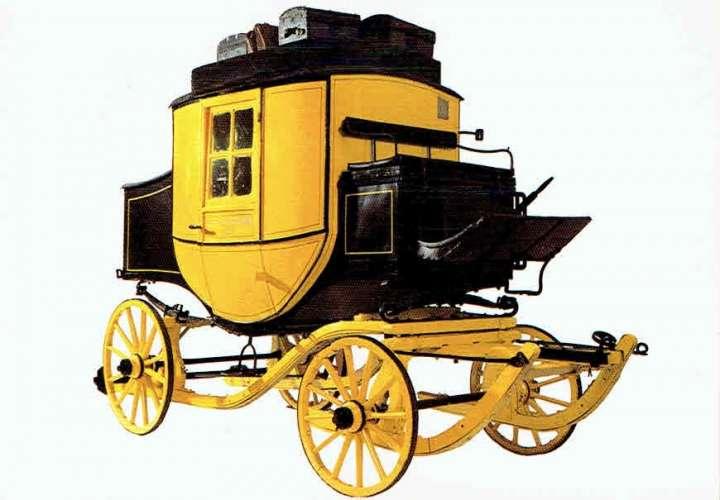 ALLEMAGNE : Diligence avec barres de traîneau en 1900 (Musée de Frankfurt)