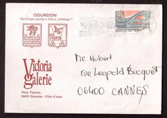 France 1991 Y&T 2704 (o) pont de Cheviré à Nantes 2,50 sur lettre avec flamme Magagnosc