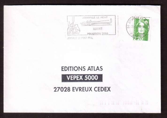 France 1991 Y&T 2718 (o) Marianne de Briat 2,20 roulette sur lettre avec flamme