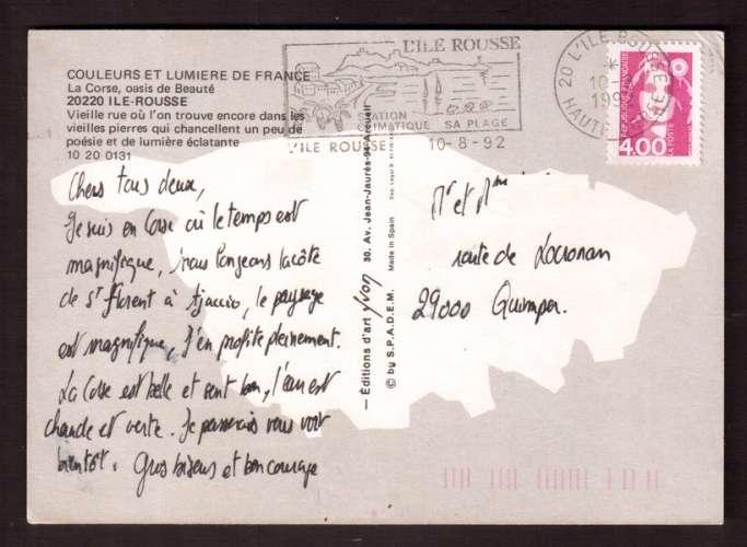 France 1991 Y&T 2717 (o) Marianne de Briat 4,00 seul sur Cpm L'Ile Rousse avec flamme