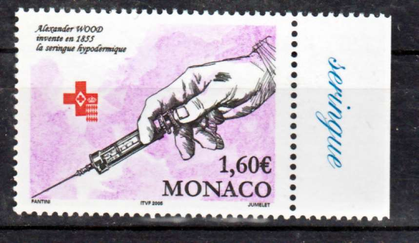 MONACO 2477 croix rouge  2004 vignette seringue neufs ** luxe MNH prix de la poste 1.6