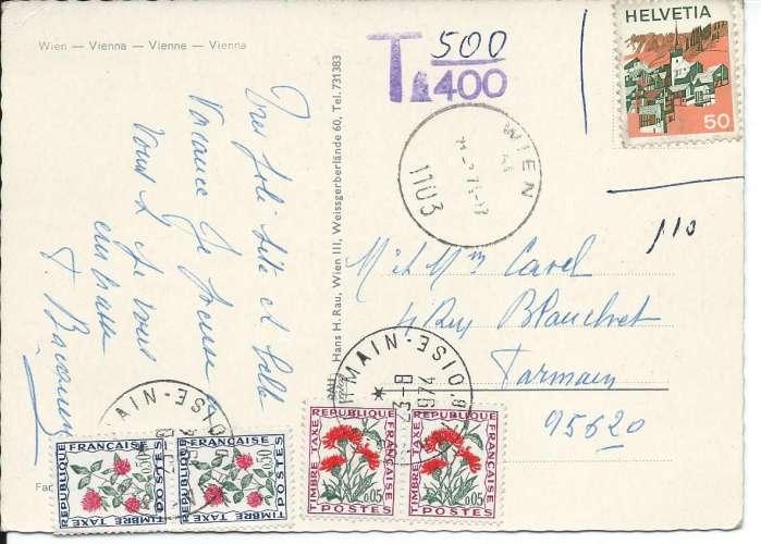 France timbres Taxe YT 95 et 101 sur CPM postée d'Autriche avec timbre Suisse - Dos scanné
