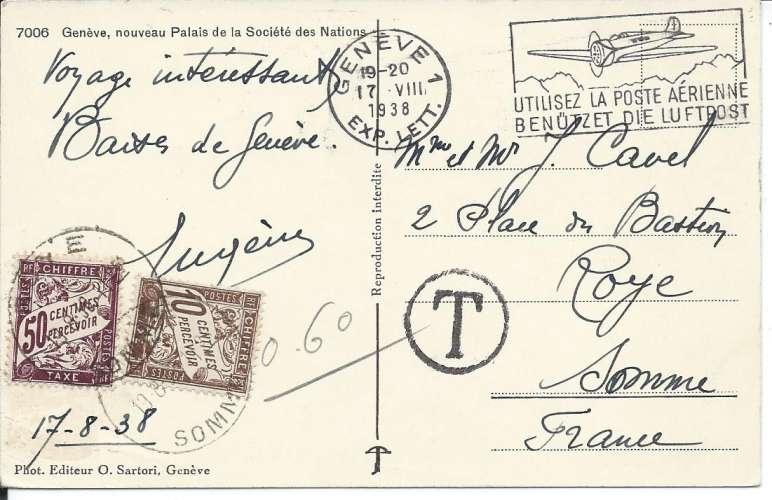 France timbres Taxe Duval YT 29 et 37 sur CPA - Suisse - Genève - Palais Nations - 1938 - Dos scanné
