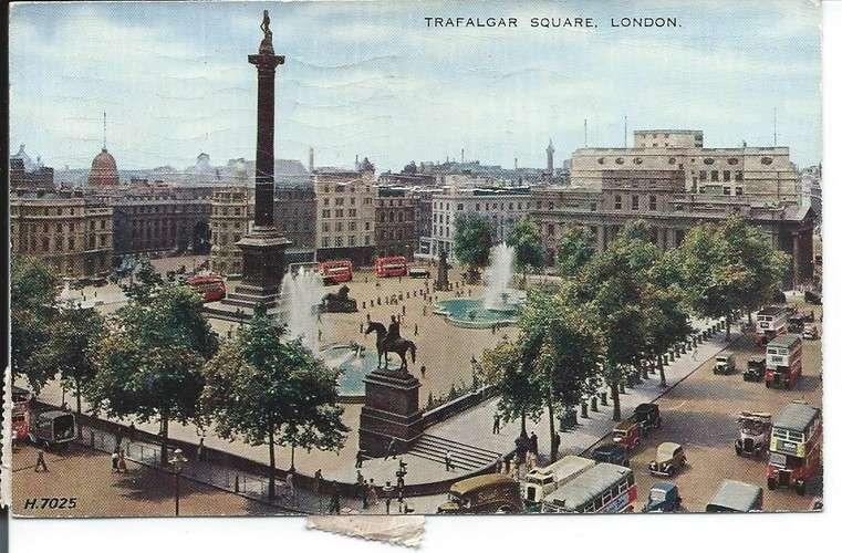 France timbres Taxe YT 75 et 76 sur CPA - Royaume-Uni - Londres - Trafalgar Square - 1958