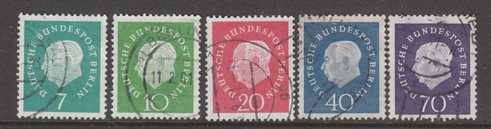 SERIE OBLITEREE DE BERLIN - 75E ANNIVERSAIRE DU PRESIDENT THEODOR HEUSS N° Y&T 162A à 166