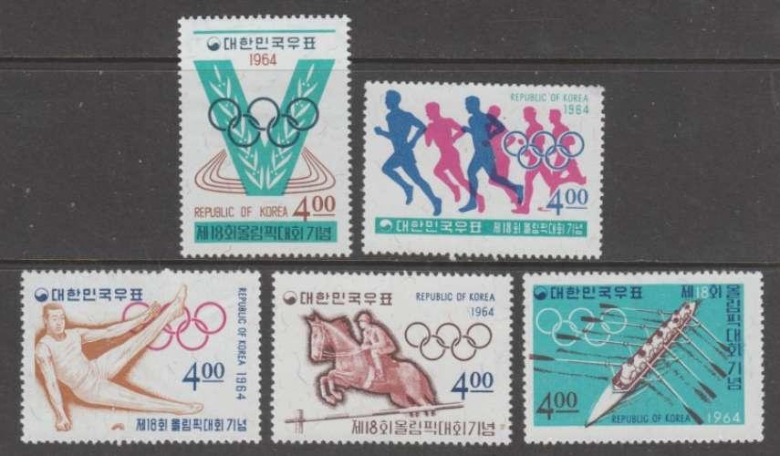 SERIE NEUVE DE COREE DU SUD - JEUX OLYMPIQUES DE TOKYO N° Y&T 354 A 358