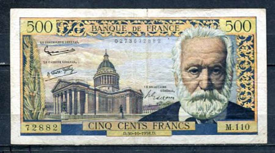 BILLET FRANCE 500 FRANCS VICTOR HUGO 30-10-1958 TTB