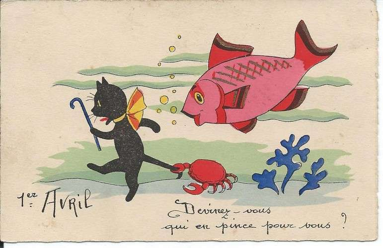 1° avril - Poisson - Chat - Dos scanné