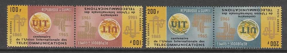 2 PAIRES NEUVES TETE-BECHE DE GUINEE - CENTENAIRE DE L'U.I.T. N° Y&T PA 54/55