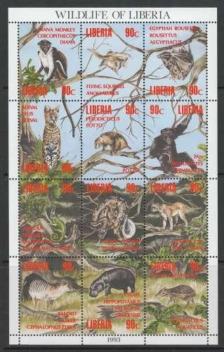 FEUILLET NEUF DU LIBERIA - LA VIE SAUVAGE AU LIBERIA N° Y&T 1231 A 1242