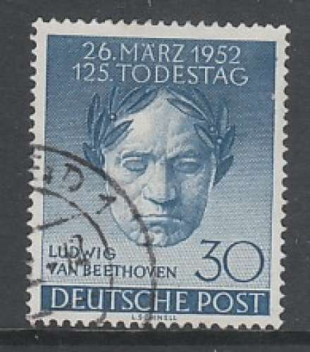 TIMBRE OBLITERE DE BERLIN - 150E ANNIVERSAIRE DE LA MORT DE BEETHOVEN N° Y&T 73