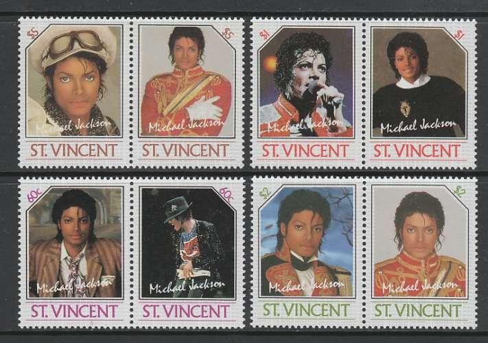 SERIE NEUVE DE SAINT-VINCENT - HOMMAGE A MICKAEL JACKSON N° Y&T 890 A 897