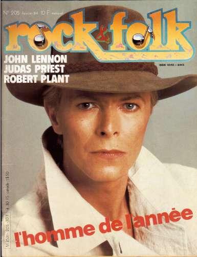 Magazine Rock & Folk n° 205 fév 84 l'homme de l'année : David Bowie - John Lennon - Judas Priest...