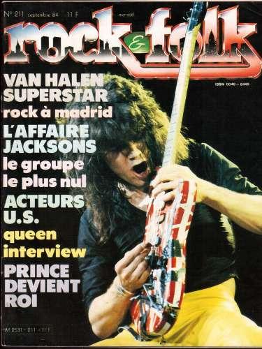 Magazine Rock & Folk n° 211 sept 84 Van Halen - l'affaire Jacksons - acteurs US - Queen - Prince