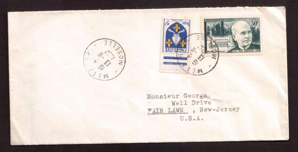 France 1956 Y&T 1058 (o) Paul Sabatier 30 F sur lettre direction New Jersey USA