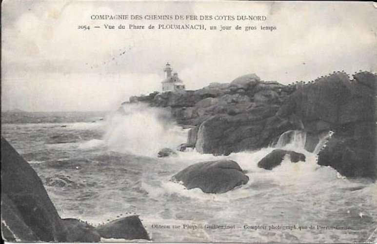 Cpa 22 Ploumanach , le phare un jour de grosse tempête , écrite 1908