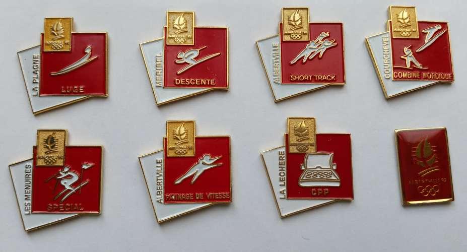 Lot de 8 pin's Jeux Olympiques d'Hiver Albertville 1992 - Vendu au profit du site