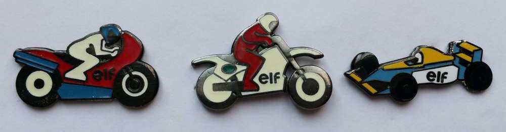 Lot de 3 pin's ELF Moto et Formule 1 signés ELF IPC BOOMERANG - Vendu au profit du site