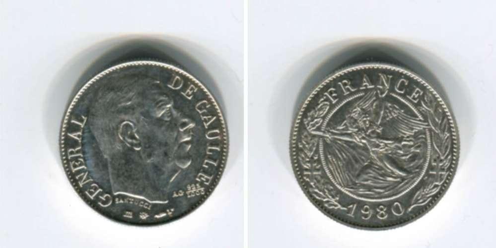 [8833] Médaille : Général de Gaulle 1980 (Argent 925/1000)