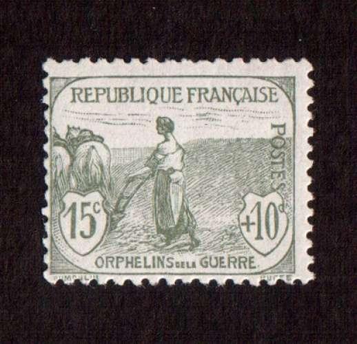 France 1917-18 Y&T 150 ** le travail 15 c + 10 c orphelins de la guerre  cote 125€